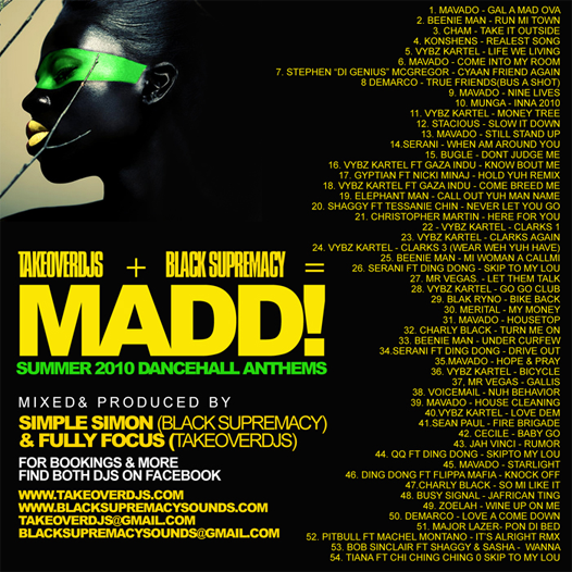 Take Over DJs & Black Supremacy presents – MADD Dancehall Anthems